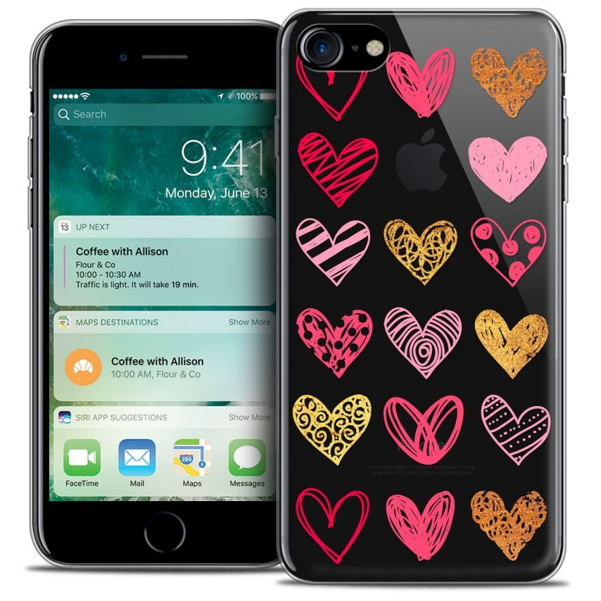 "Coque Crystal Gel Apple iPhone 7 (4.7"") Extra Fine Sweetie - Doodling Hearts"