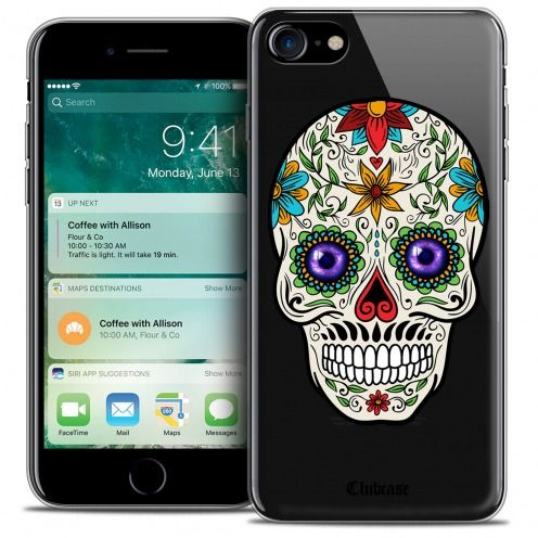 "Coque Crystal Gel Apple iPhone 7 (4.7"") Extra Fine Skull - Maria's Flower"