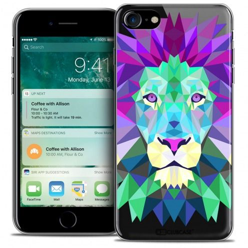 "Coque Crystal Gel Apple iPhone 7 (4.7"") Extra Fine Polygon Animals - Lion"