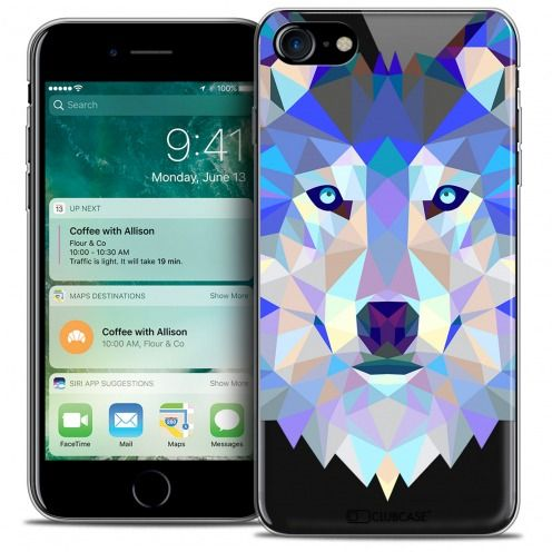 "Coque Crystal Gel Apple iPhone 7 (4.7"") Extra Fine Polygon Animals - Loup"