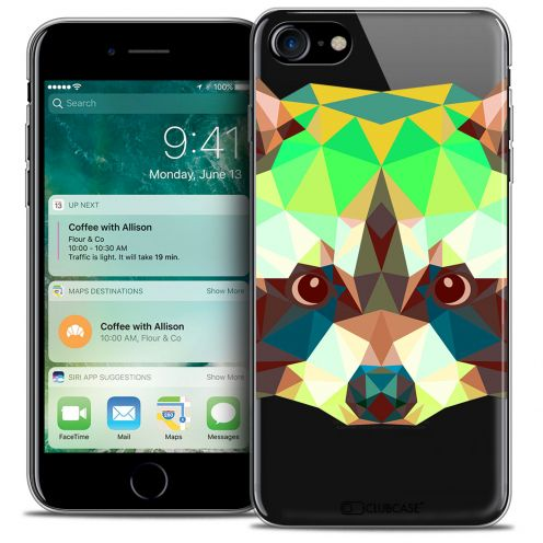 "Coque Crystal Gel Apple iPhone 7 (4.7"") Extra Fine Polygon Animals - Raton Laveur"