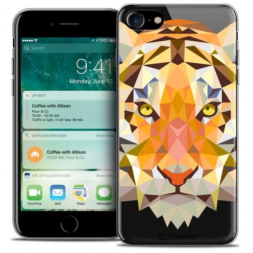 "Coque Crystal Gel Apple iPhone 7 (4.7"") Extra Fine Polygon Animals - Tigre"