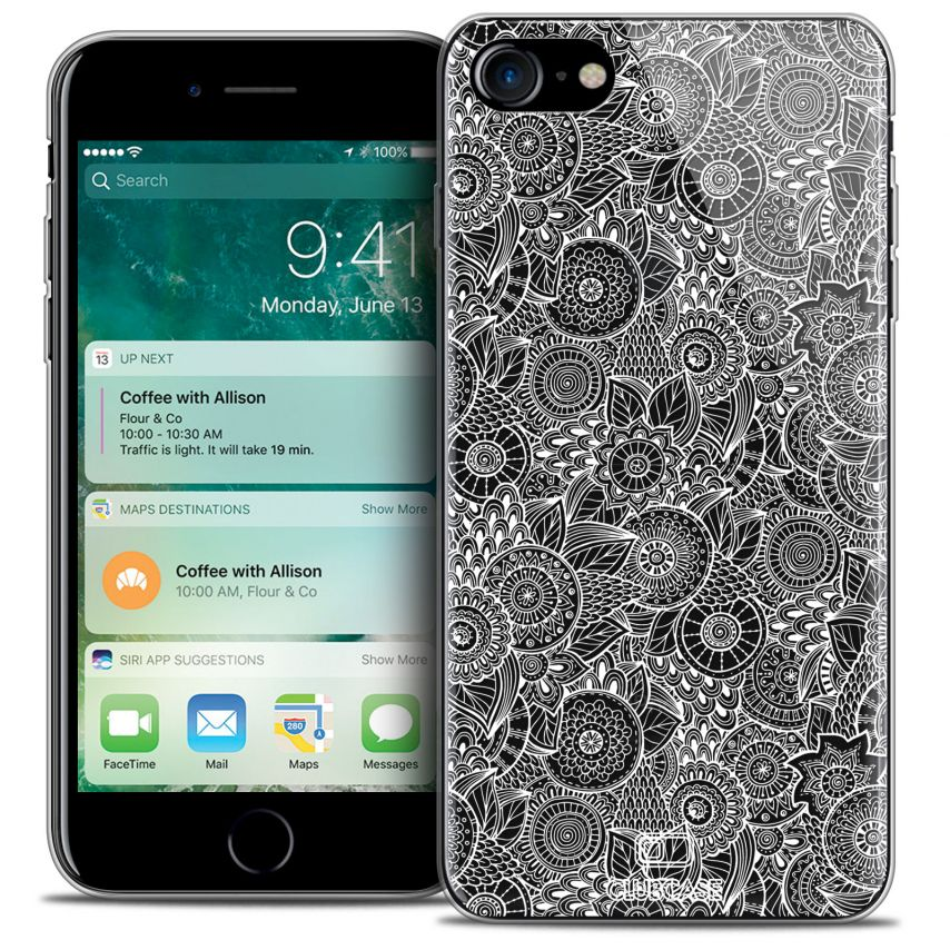 """Coque Crystal Gel Apple iPhone 7 (4.7"""") Extra Fine Texture Dentelle Florale - Blanche"""