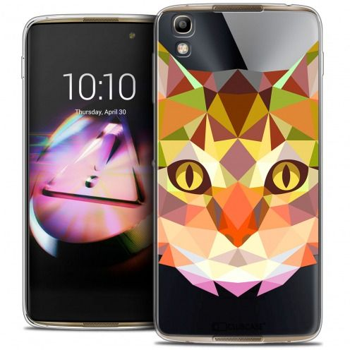 Coque Crystal Gel Alcatel Idol 4 Extra Fine Polygon Animals - Chat