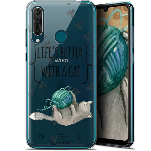 "Coque Gel Wiko View 3 PRO (6.3"") Extra Fine Quote - Life's Better With a Cat"