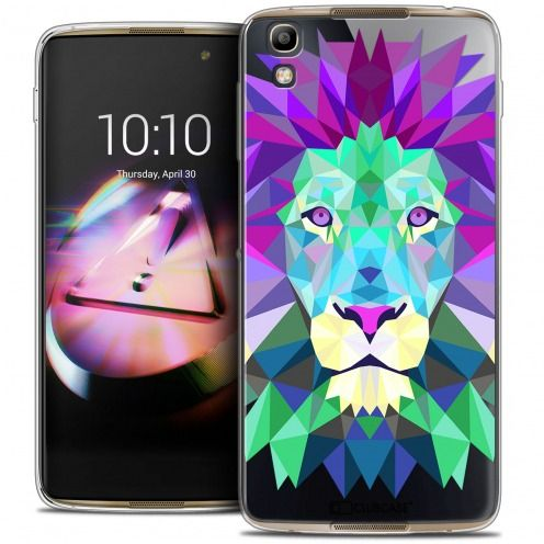 Coque Crystal Gel Alcatel Idol 4 Extra Fine Polygon Animals - Lion