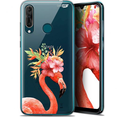"Coque Gel Wiko View 3 PRO (6.3"") Extra Fine Motif - Flamant Rose Fleuri"