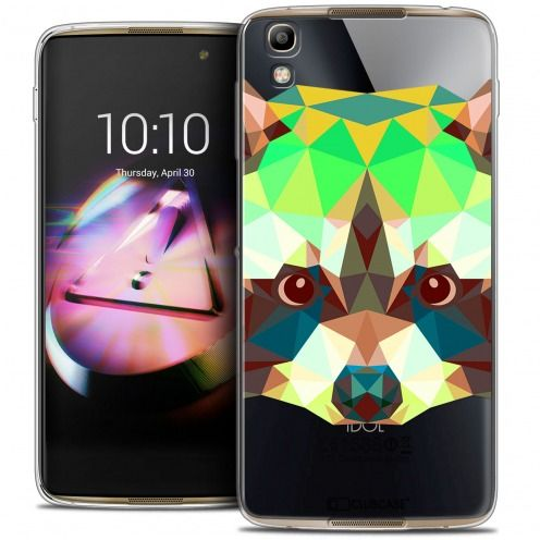 Coque Crystal Gel Alcatel Idol 4 Extra Fine Polygon Animals - Raton Laveur