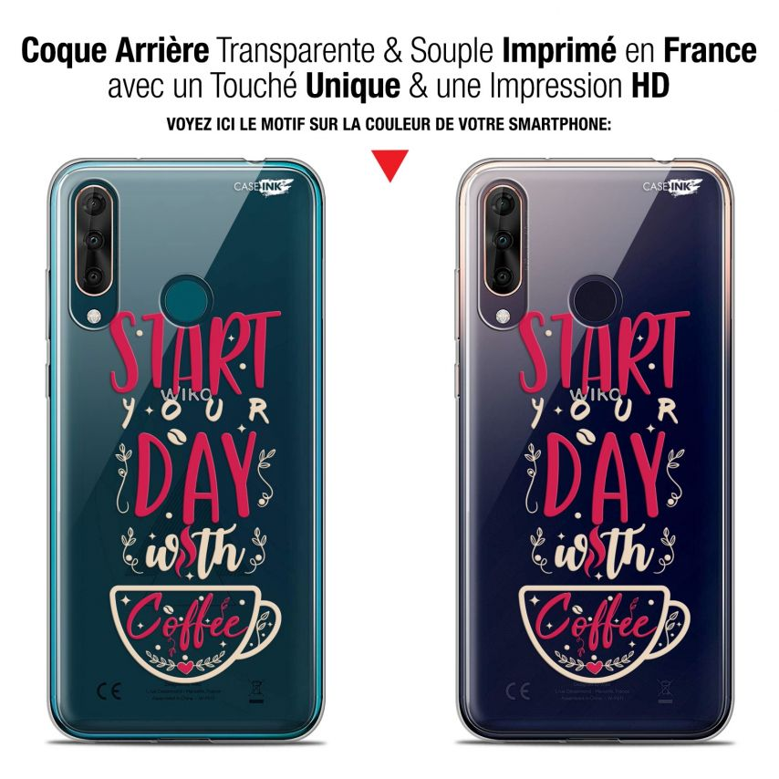 """Coque Gel Wiko View 3 PRO (6.3"""") Extra Fine Motif - Start With Coffee"""