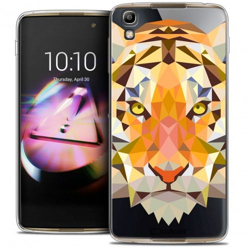 Coque Crystal Gel Alcatel Idol 4 Extra Fine Polygon Animals - Tigre