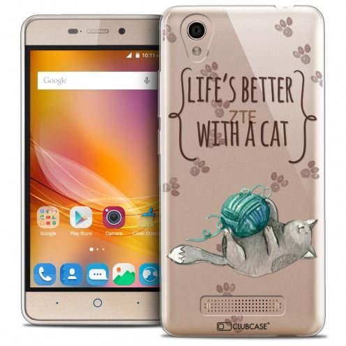 Coque Crystal Gel ZTE A452 Extra Fine Quote - Life's Better With a Cat