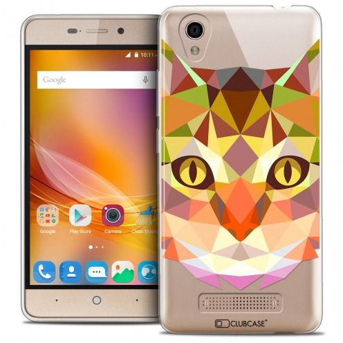 Coque Crystal Gel ZTE A452 Extra Fine Polygon Animals - Chat