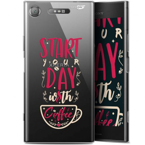 "Coque Gel Sony Xperia XZ1 (5.2"") Extra Fine Motif - Start With Coffee"