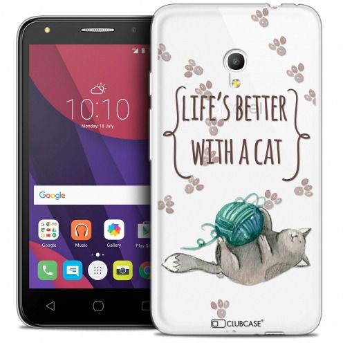 "Coque Crystal Gel Alcatel Pixi 4 5.0"" (5045X) Extra Fine Quote - Life's Better With a Cat"