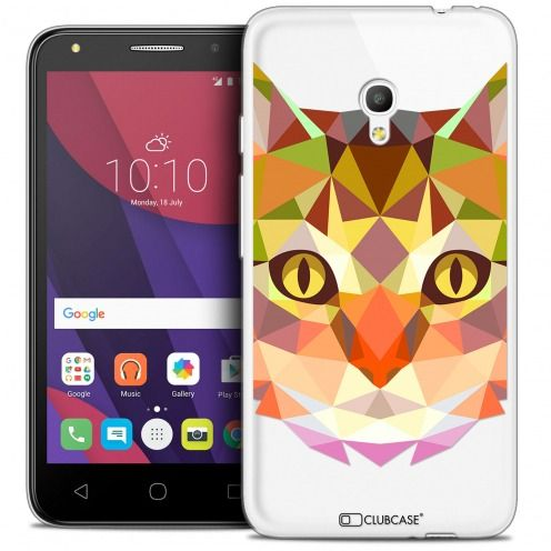 "Coque Crystal Gel Alcatel Pixi 4 5.0"" (5045X) Extra Fine Polygon Animals - Chat"