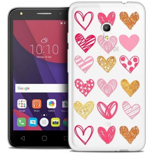 "Coque Crystal Gel Alcatel Pixi 4 5.0"" (5045X) Extra Fine Sweetie - Doodling Hearts"