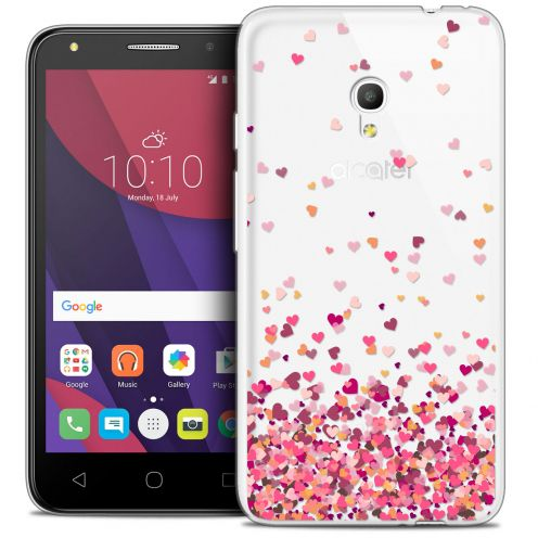 "Coque Crystal Gel Alcatel Pixi 4 5.0"" (5045X) Extra Fine Sweetie - Heart Flakes"