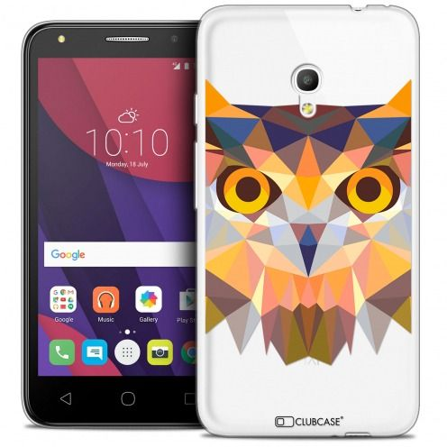 "Coque Crystal Gel Alcatel Pixi 4 5.0"" (5045X) Extra Fine Polygon Animals - Hibou"