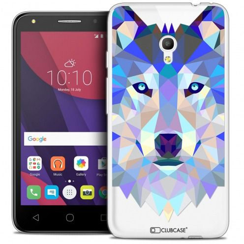 "Coque Crystal Gel Alcatel Pixi 4 5.0"" (5045X) Extra Fine Polygon Animals - Loup"