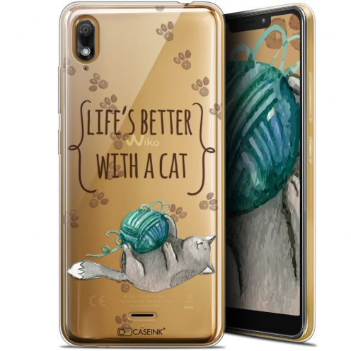 """Coque Gel Wiko View 2 GO (5.93"""") Extra Fine Quote - Life's Better With a Cat"""