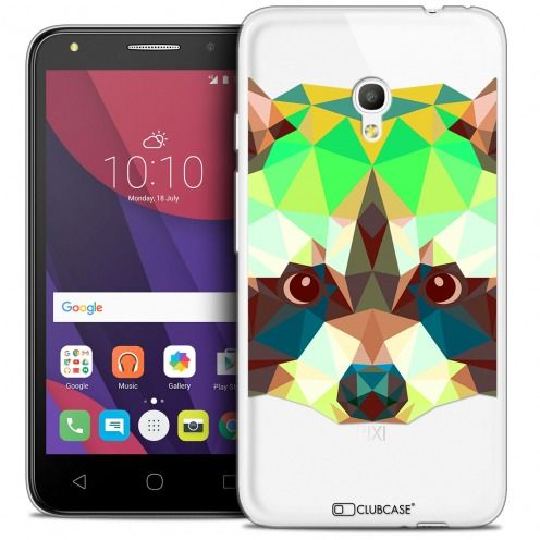 "Coque Crystal Gel Alcatel Pixi 4 5.0"" (5045X) Extra Fine Polygon Animals - Raton Laveur"