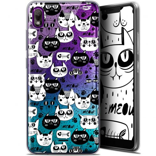 "Coque Gel Wiko View 2 GO (5.93"") Extra Fine Motif - Chat Noir Chat Blanc"