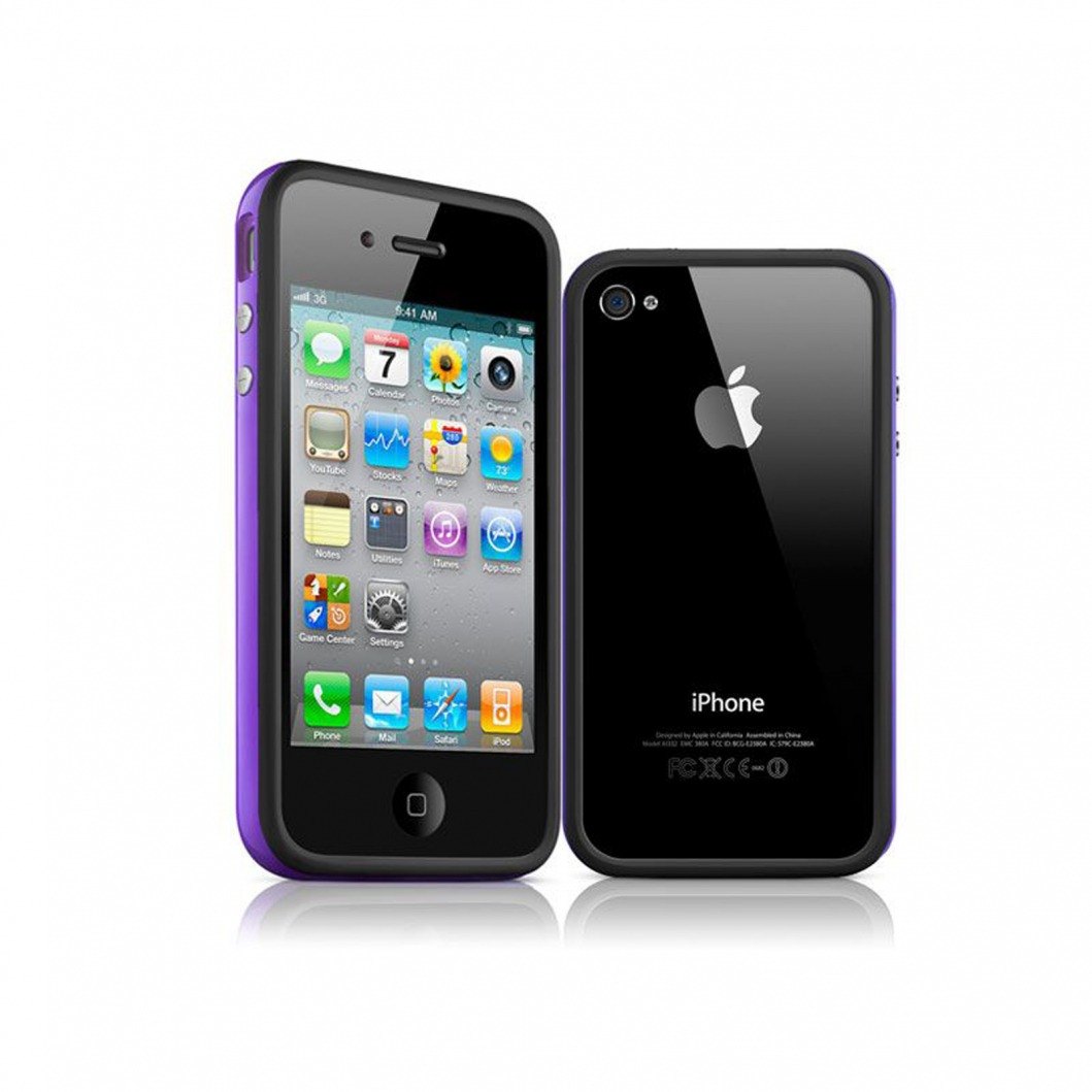 coque bumper hq noir violet pour apple iphone 4s 4. Black Bedroom Furniture Sets. Home Design Ideas