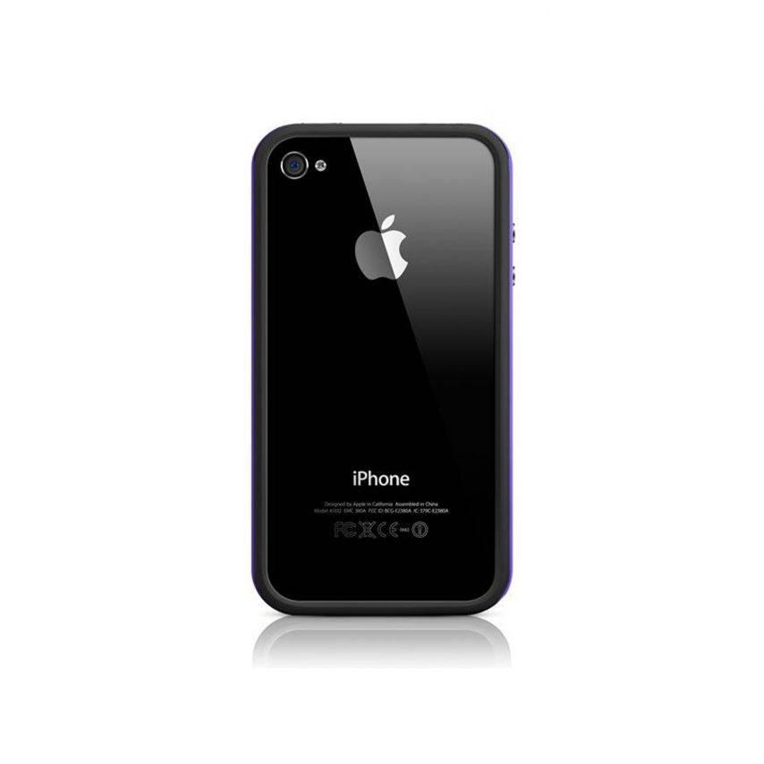 Vue portée de Coque Bumper HQ Noir / Violet Pour iPhone 4S / 4