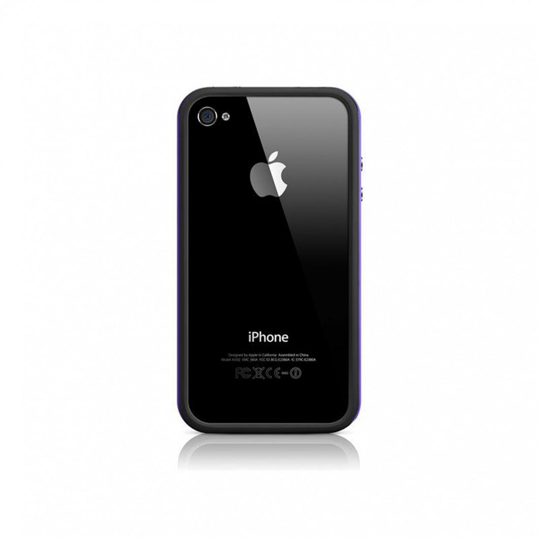 coque bumper hq noir violet pour iphone 4s 4