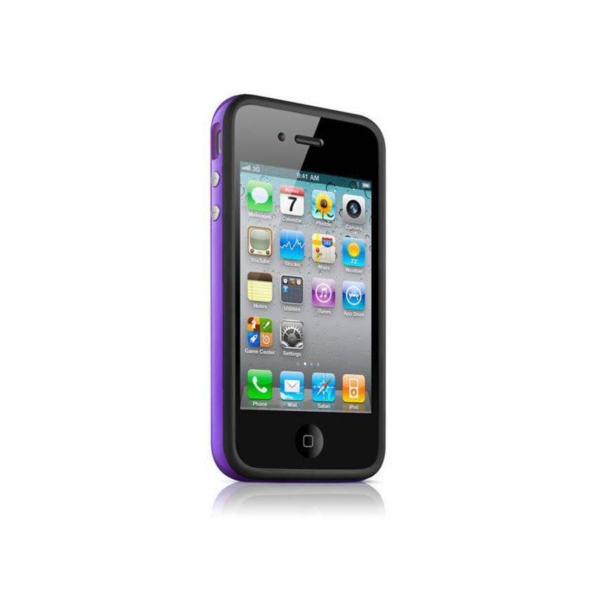 Visuel unique de Coque Bumper HQ Noir / Violet Pour iPhone 4S / 4