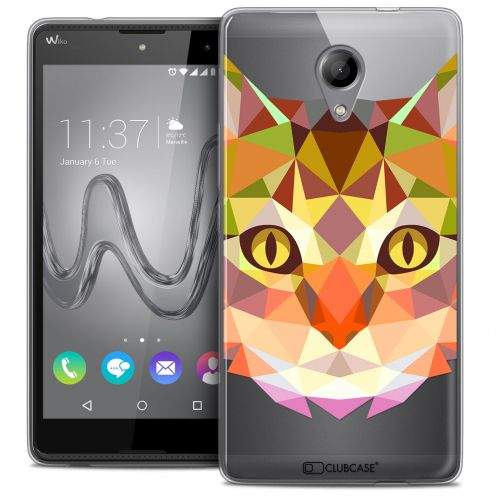 Coque Crystal Gel Wiko Robby Extra Fine Polygon Animals - Chat