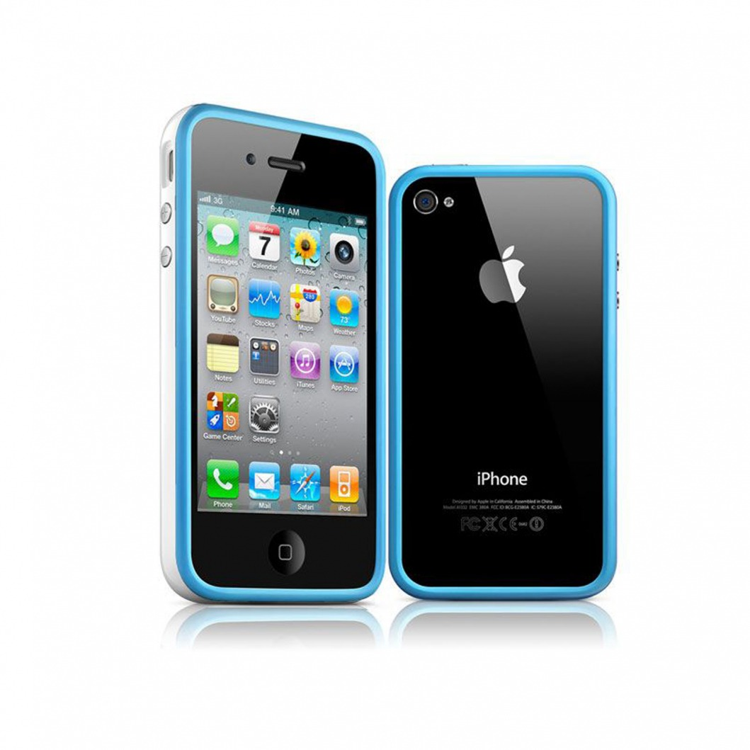 coque bumper hq bleu blanc pour apple iphone 4s 4. Black Bedroom Furniture Sets. Home Design Ideas