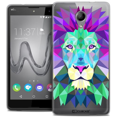 Coque Crystal Gel Wiko Robby Extra Fine Polygon Animals - Lion