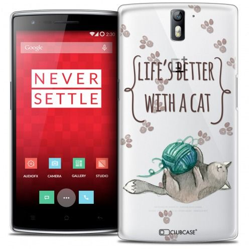 Coque Crystal Rigide OnePlus One Extra Fine Quote - Life's Better With a Cat