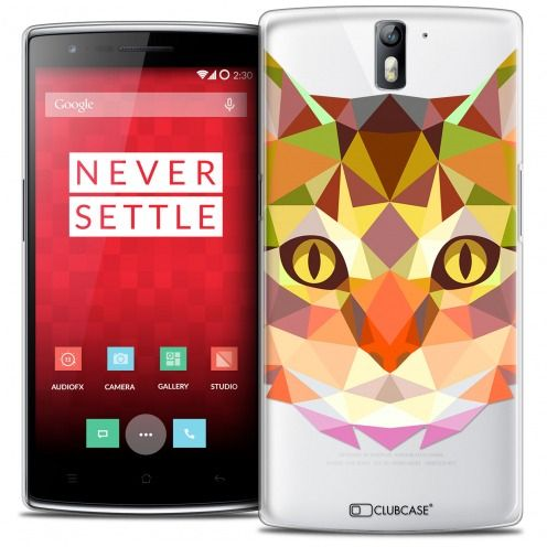 Coque Crystal Rigide OnePlus One Extra Fine Polygon Animals - Chat