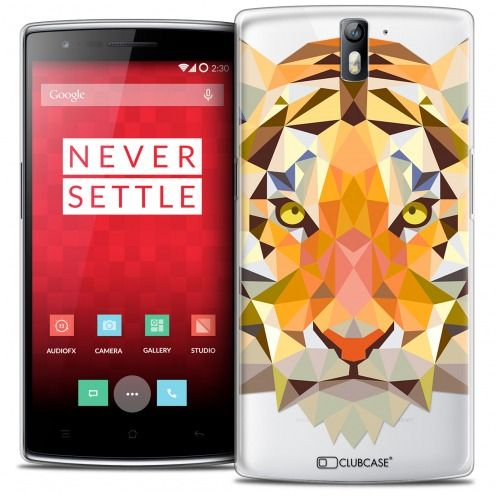 Coque Crystal Rigide OnePlus One Extra Fine Polygon Animals - Tigre