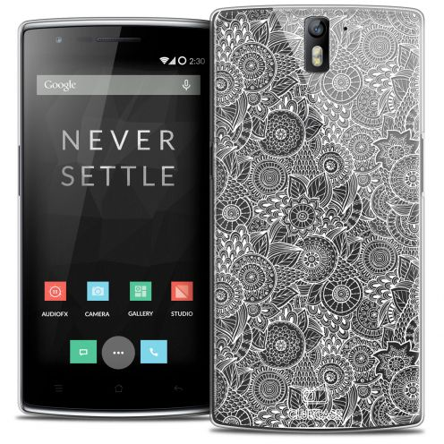 Coque Crystal Rigide OnePlus One Extra Fine Texture Dentelle Florale - Blanche