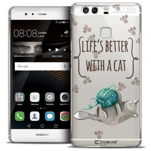Coque Crystal Rigide Huawei P9 Extra Fine Quote - Life's Better With a Cat