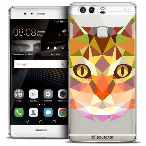Coque Crystal Rigide Huawei P9 Extra Fine Polygon Animals - Chat