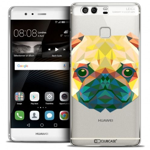 Coque Crystal Rigide Huawei P9 Extra Fine Polygon Animals - Chien