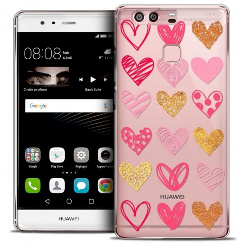 Coque Crystal Rigide Huawei P9 Extra Fine Sweetie - Doodling Hearts