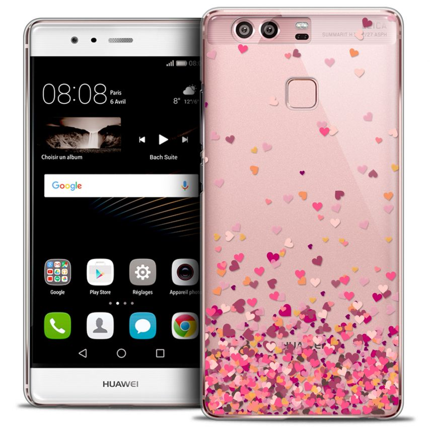 Coque Crystal Rigide Huawei P9 Extra Fine Sweetie - Heart Flakes
