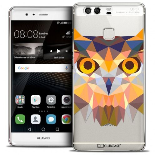 Coque Crystal Rigide Huawei P9 Extra Fine Polygon Animals - Hibou
