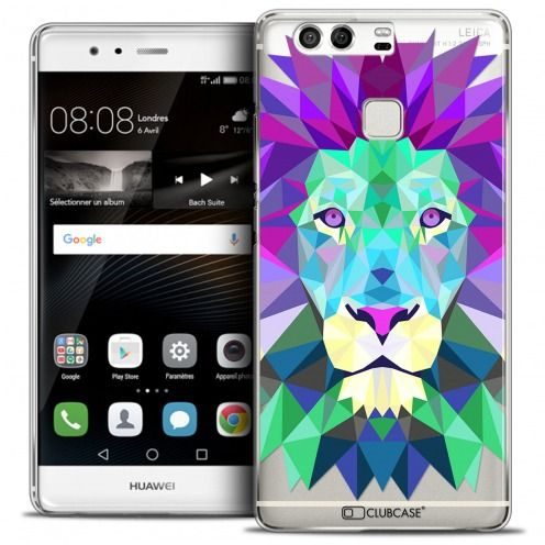 Coque Crystal Rigide Huawei P9 Extra Fine Polygon Animals - Lion