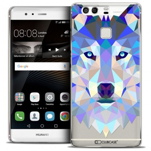 Coque Crystal Rigide Huawei P9 Extra Fine Polygon Animals - Loup
