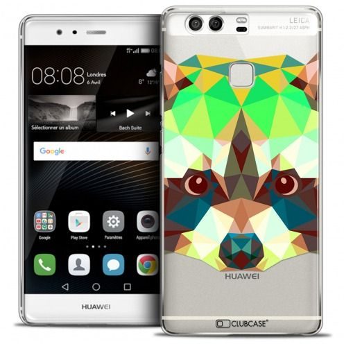 Coque Crystal Rigide Huawei P9 Extra Fine Polygon Animals - Raton Laveur