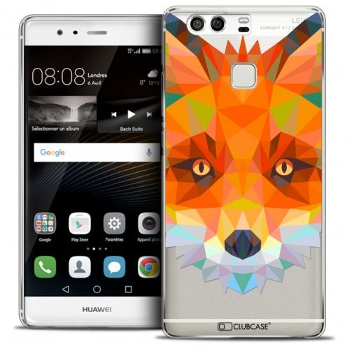 Coque Crystal Rigide Huawei P9 Extra Fine Polygon Animals - Renard