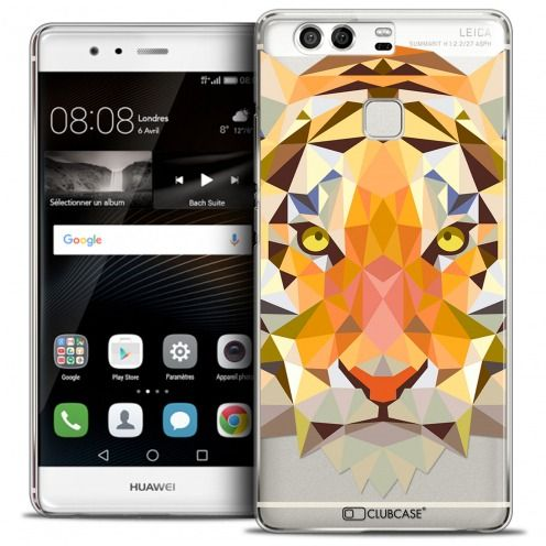 Coque Crystal Rigide Huawei P9 Extra Fine Polygon Animals - Tigre