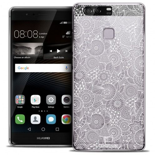 Coque Crystal Rigide Huawei P9 Extra Fine Texture Dentelle Florale - Blanche