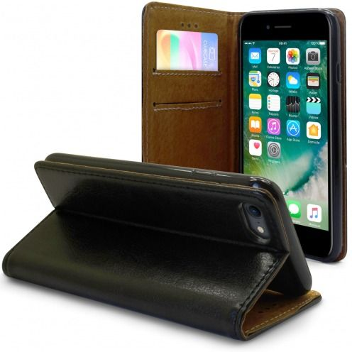 "Etui Italia Folio Stand Apple iPhone 7 (4.7"") Cuir Véritable Bovin Noir"